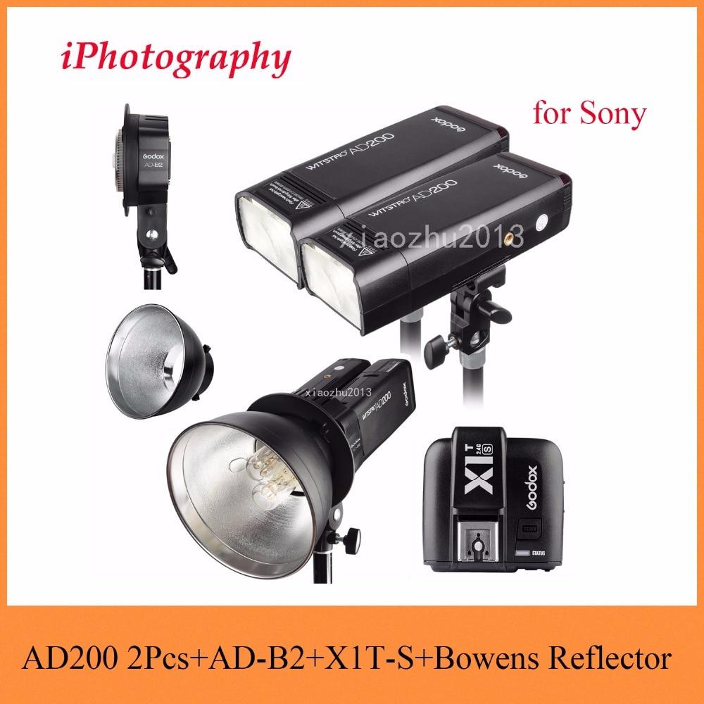 Godox AD200 2.4G TTL Flash 2Pcs + AD-B2 + X1T-S + Bowens Reflector 400W Strobe Flash for Sony