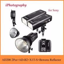 Godox AD200 2.4 г TTL flash 2 шт. + AD-B2 + X1T-S + Bowens отражатель 400 Вт стробоскопа вспышкой для sony