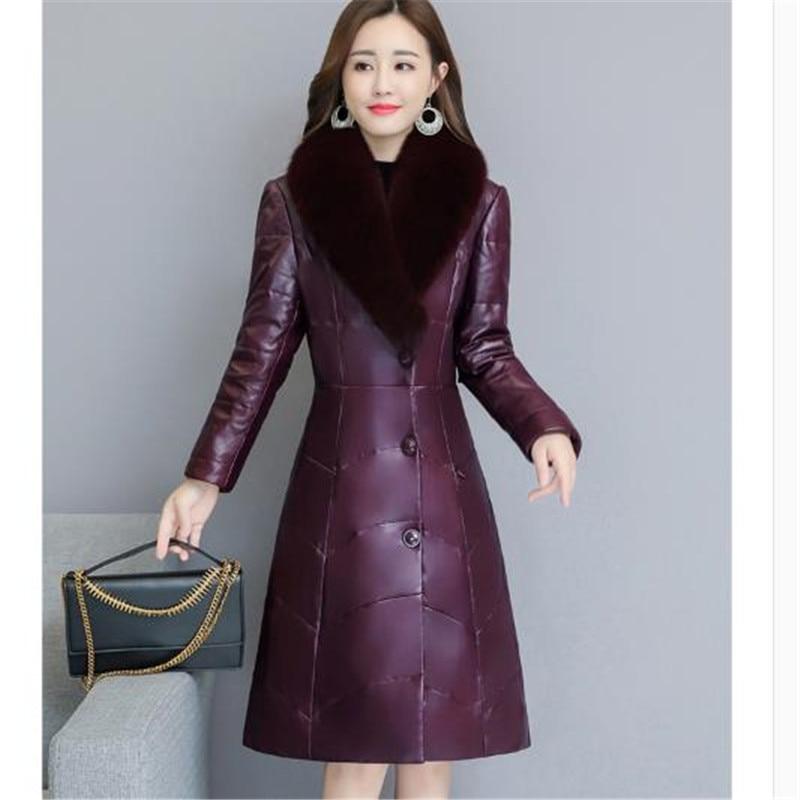 Black Faux Taille Survêtement D'hiver En Manteau Femmes Longue Renard purple Col Fourrure Parka New Chaud De Cuir Veste La Pu Plus Femelle Hot Épais 41ztxBqwc