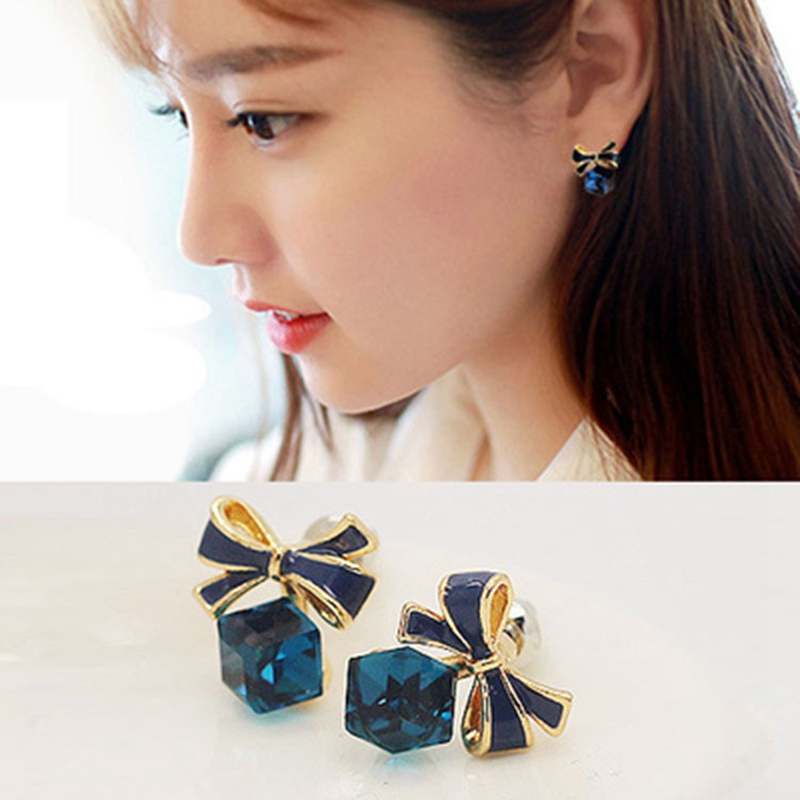 2019 Fashion Chic Bling BowKnot Earring Cubic Green Blue Crystal Earrings Rhinestone
