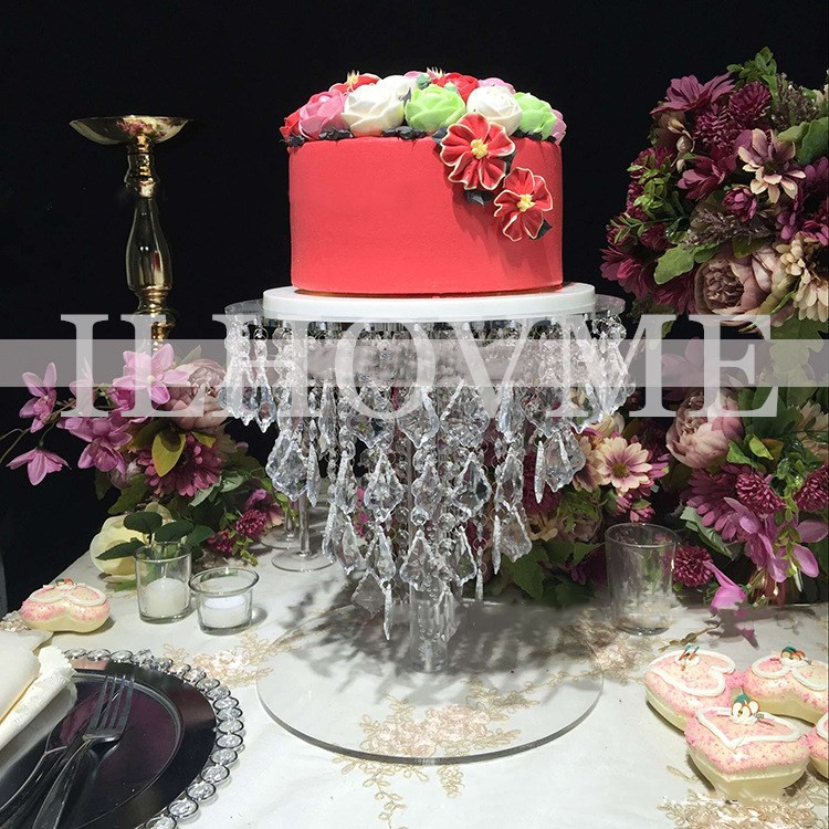 Round Acrylic Crystal Wedding Cake Stand / Flower Stand Wedding / Event & Party Pillar Table Decoration Wedding Centerpiece