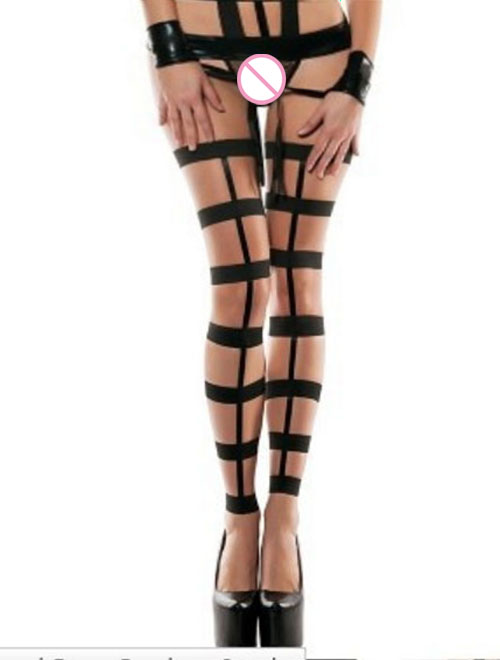 HOT Sexy Sleepwear Outfits Elastic product erotic Babydoll costumes Set Lingerie Underwear stocking+T-back+PVC handcuffs  6359