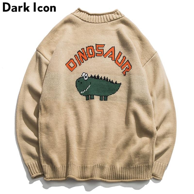 Sweater Men Pullover Oversized Dinosaur Winter Khaki Boy Black Student