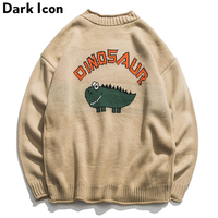 Прекрасный свитер с динозавром для мужчин 2018 Зимний пуловер мужские свитера оверсайз студенческий свитер для мальчиков черный хаки