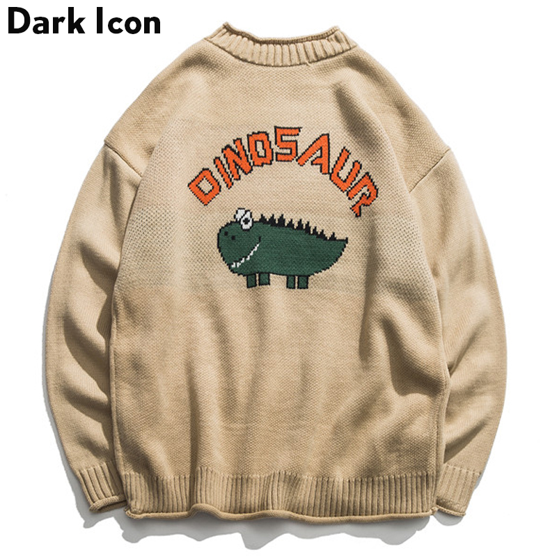 Dinosaur Lovely Sweater Men 2018 Winter Pullover Men's Sweaters Oversized Boy Student Sweater Black Khaki
