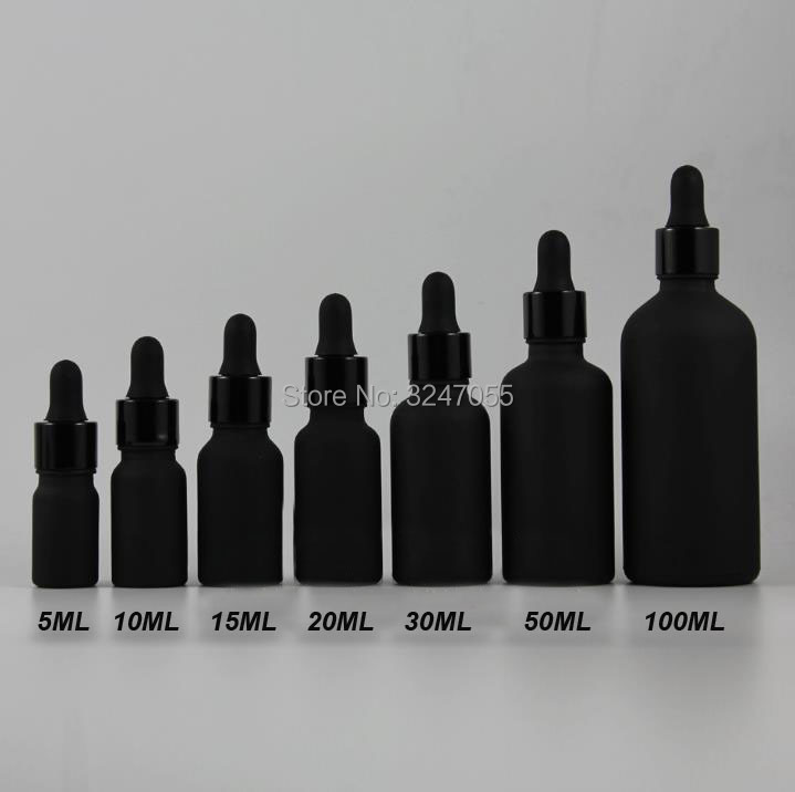 5ml10ml15ml20ml30ml50ml100ml Matte Black Cosmetic Essence Packing, Frosted Black Essential Oil Bottle, Beauty Makeup Tools black beauty