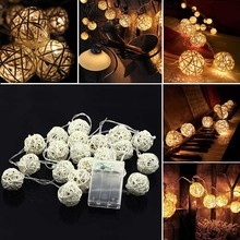 2M20LED AA battery powered Christmas Wedding Party Fairy holiday decoration warm white rattan ball LED string