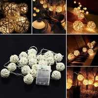 2M20LED AA con batería de Navidad para fiesta de boda Hada decoración de vacaciones blanco cálido Bola de ratán LED cadena