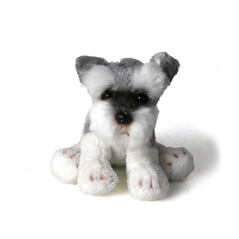 Kawaii schnauzer cão brinquedo de pelúcia pequeno macio simulação crianças brinquedos de animais de pelúcia para crianças bonito foto adereços meninas presente aniversário