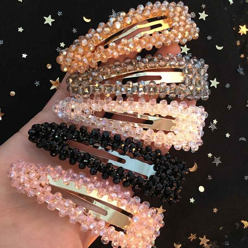 18 Styles สุภาพสตรี Glitter คริสตัลเทียม BB คลิปผม Elegant Transparent เครื่องประดับ Bobby Pins บูติก Side Bangs Snap Barrette