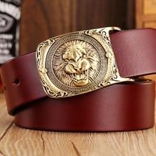 2017 neue heiße designer gürtel männer hohe qualität aus massivem messing schnalle luxus 100% echt vollnarben echtem leder lion ceintures adler