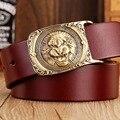 2017 nuevos calientes cinturones de diseñador hombres de alta calidad de latón macizo hebilla de lujo 100% real león ceintures de grano completo de cuero genuino águila