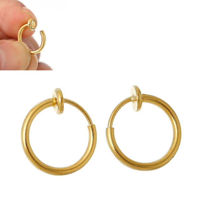 doreen box brass non piercing fake clip on hoop earrings s gold