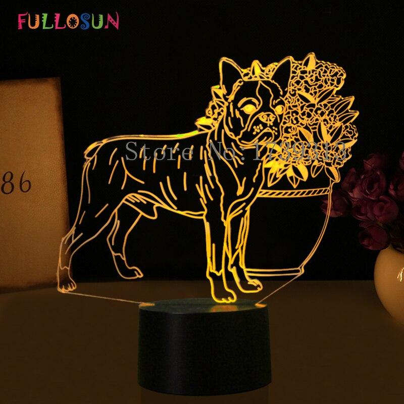 Lampa stołowa LED 3D Dog Lampki nocne USB 7 kolorów 3D Illusion - Lampki nocne - Zdjęcie 2