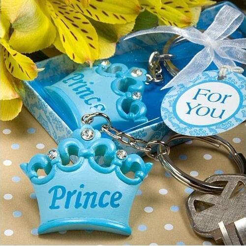 20pcslot baby boy prince crown key chain key ring keychain baby shower favors souvenirs