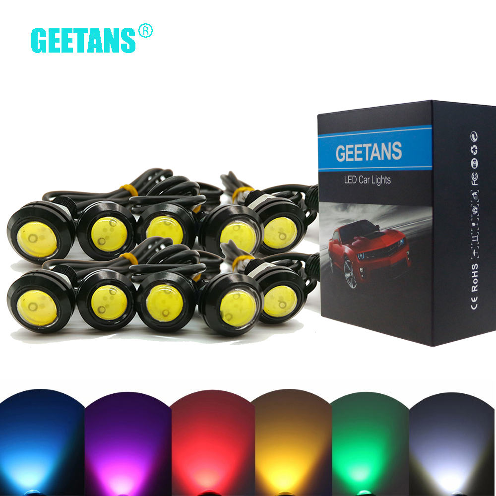 GEETANS 10PCS 18mm 23mm 12V White LED Eagle Eye Light Car Fog DRL Daytime Reverse Backup Parking Signal black/silver shell G geetans newest 10pcs led eagle light eye car fog light drl daytime running lights reverse backup signal parking black silver be