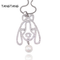 Popcorm Chain Knot Dog Austria Crystal Pendant Necklace White Golden Plating Pearl Drop Charm Lovers' Jewelry Gift Item: LN1184