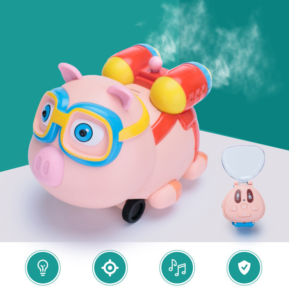 Children Watch Remote Control Small Pig Toy Kids Mini Spray Smart Toy 2.4G Infrared Follow Spray Animals Electric Induction Toys