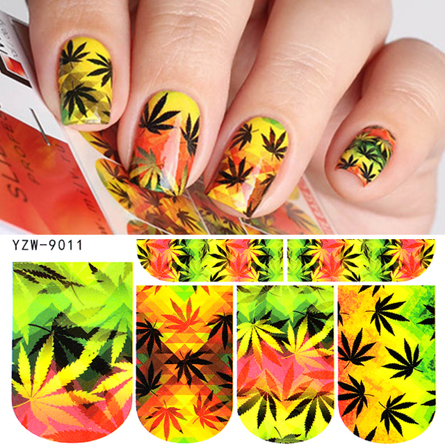 WUF 1 Sheet Nail Decals Russian Maple Leaf Designs Water Transfers ...