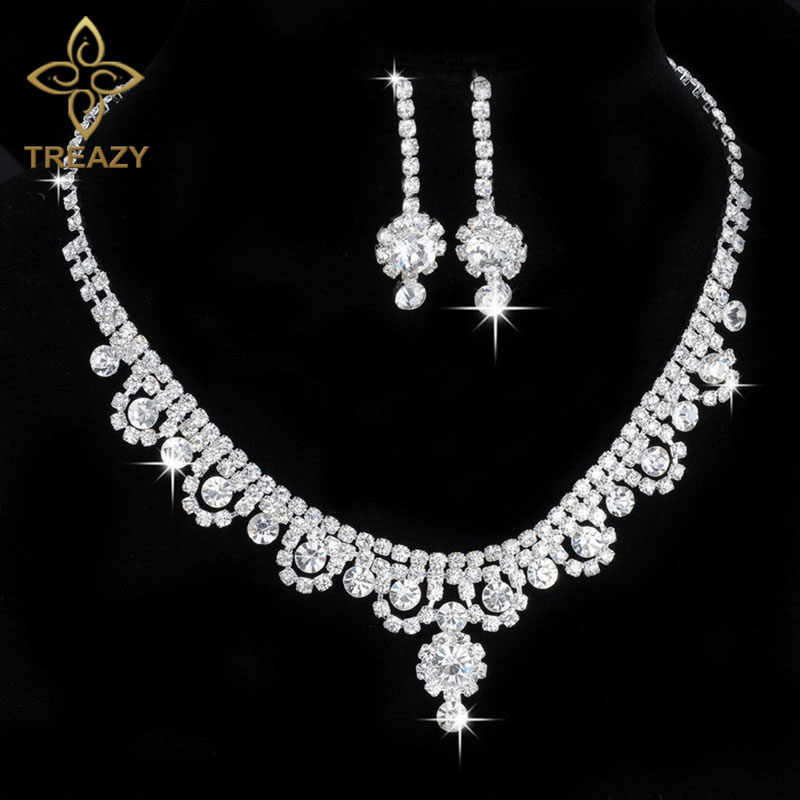 TREAZY Celebrity Inspired Crystal Rhinestone Choker Necklace Earrings Set Silver Color Wedding Bridal Bridesmaid Jewelry Sets
