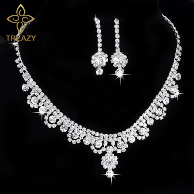 TREAZY Celebrity Inspired Crystal Rhinestone Choker Necklace Earrings Set  Silver Color Wedding Bridal Bridesmaid Jewelry Sets 374d6fd83def