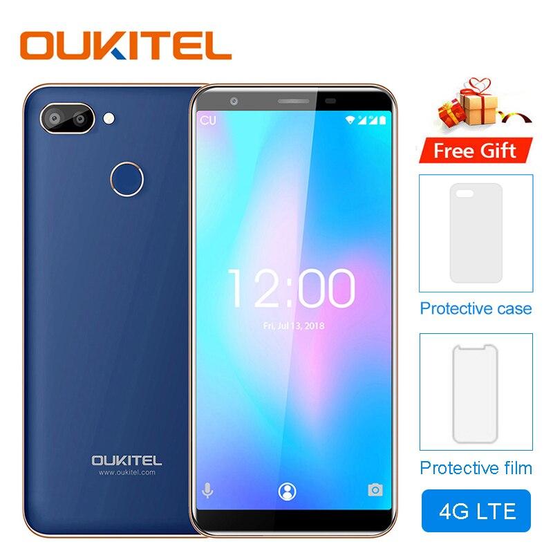 Original OUKITEL C11 Pro 5.5 pouces 18:9 Android 8.1 téléphone portable Quad Core 3 GB RAM 16 GB ROM 4G téléphones portables 3400 mAh Smartphone