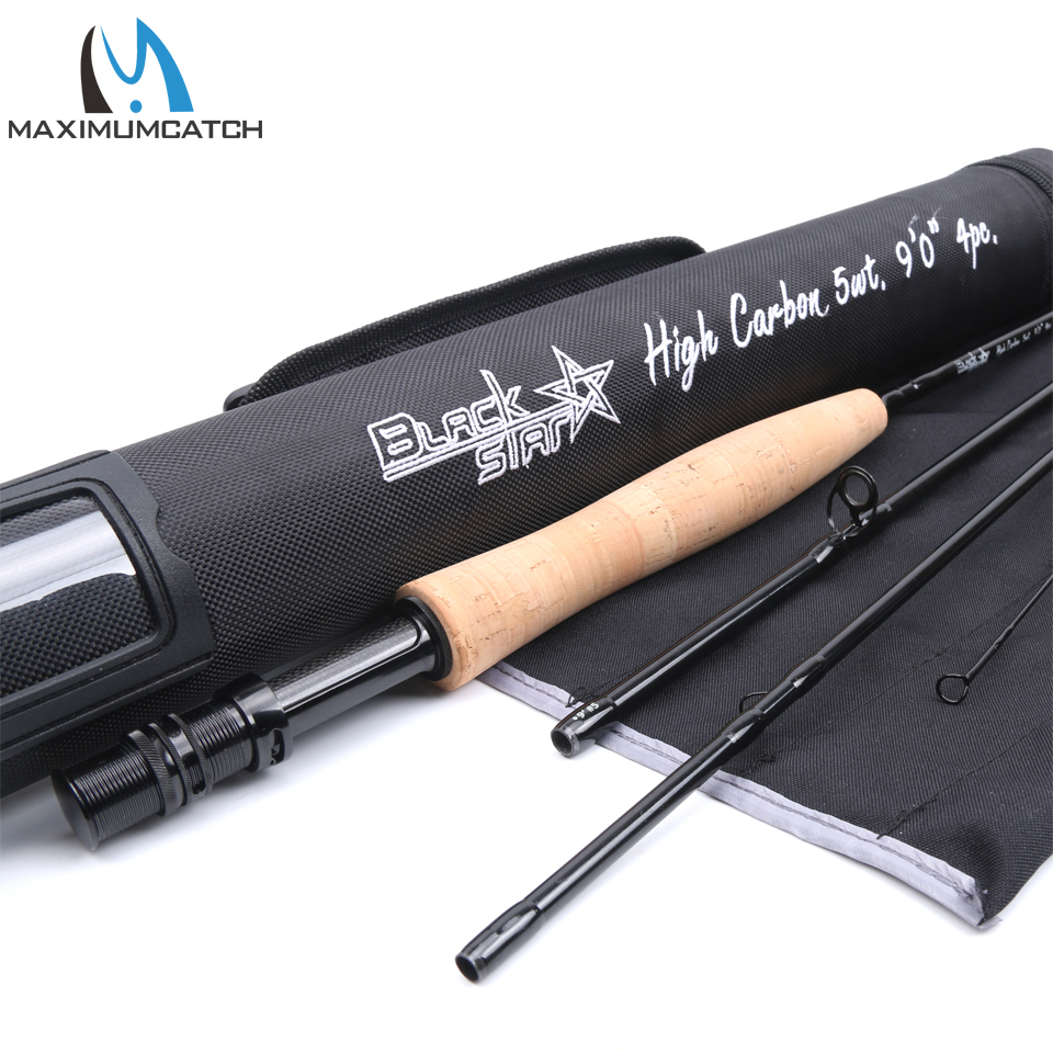Μέγιστο όριο 5-8WT Fly Rod 9FT 4SEC Carbon Fiber Γρήγορη Δράση Black Star Fly Fishing Rod με Cordura Tube Fly Fishing Rod
