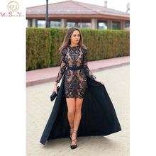 Cheap Evening Dress Black Mermaid Short Long Detachable Sweep Train Lace Appliques O-neck Full Sleeve Customized Prom Gown