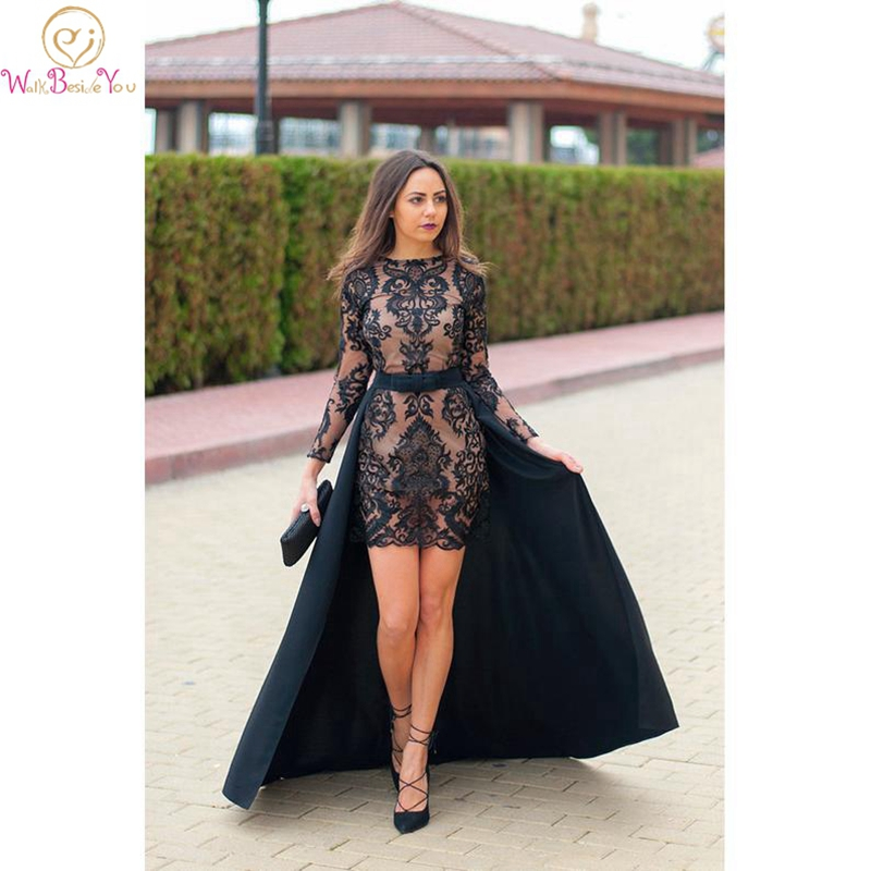 Cheap Evening Dress Black Mermaid Short Dress Long Detachable Sweep Train Lace Appliques O neck Full Sleeve Customized Prom Gown