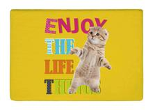 Floor Mat Inspirational cute cat yellow Print Non-slip Rugs Carpets alfombra For Indoor Outdoor living kids room