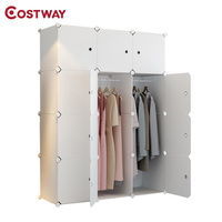 COSTWAY DIY Portable Simple Folding Wardrobe Assembled Resin Plastic Storage Cabinet Organizer W0241