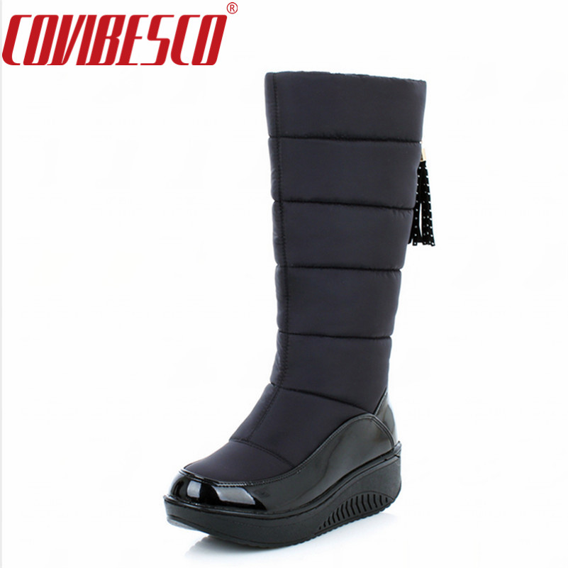 COVIBESCO Winter Warm Snow Boots Fashion Platform Fur Cotton Shoes Flat Heels Knee High Boots Women Black Brown Long Boots odetina warm cotton snow boots black over the knee long boots womens thigh high boots waterproof fashion ladies winter shoes