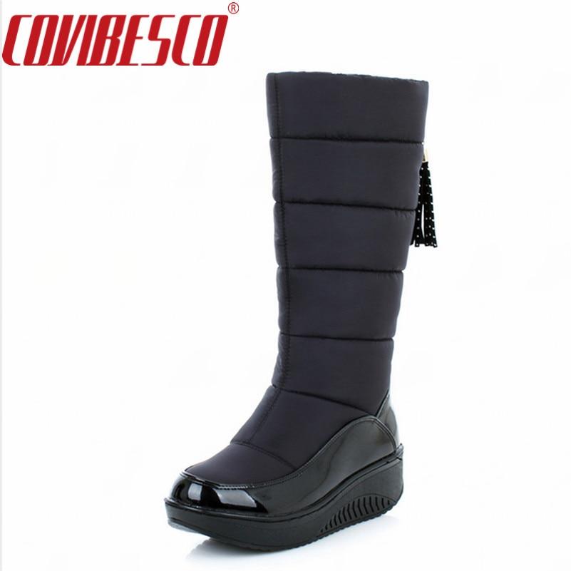 COVIBESCO Winter Warm Snow Boots Fashion Platform Fur Cotton Shoes Flat Heels Knee High Boots Women Black Brown Long Boots