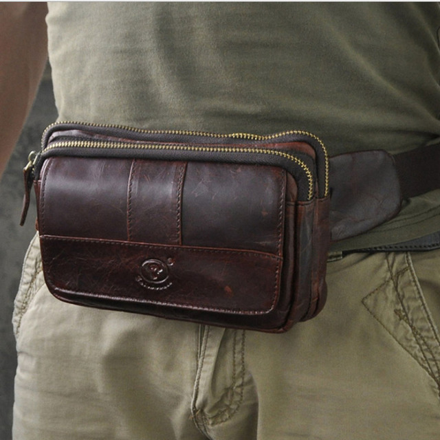 Men's  Genuine Leather Cowhide  Belt Hip Bum Waist Fanny Pack Purse Trend Shoulder Messenger Cross Body Sling Chest Pack