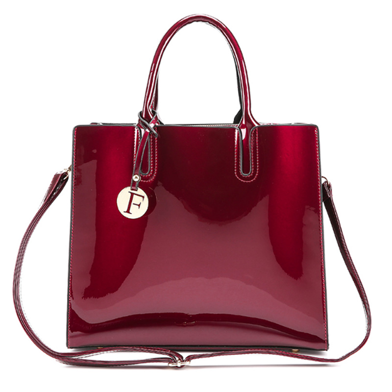 Bright Solid Patent Leather Women Fashion Bags Ladies Simple Luxury Handbags Casual Shoulder Messenger Bags Sac A Main Tote Bag women bright solid genuine leather bags ladies super luxury brand handbags casual chain shoulder messenger bags purse sac a main