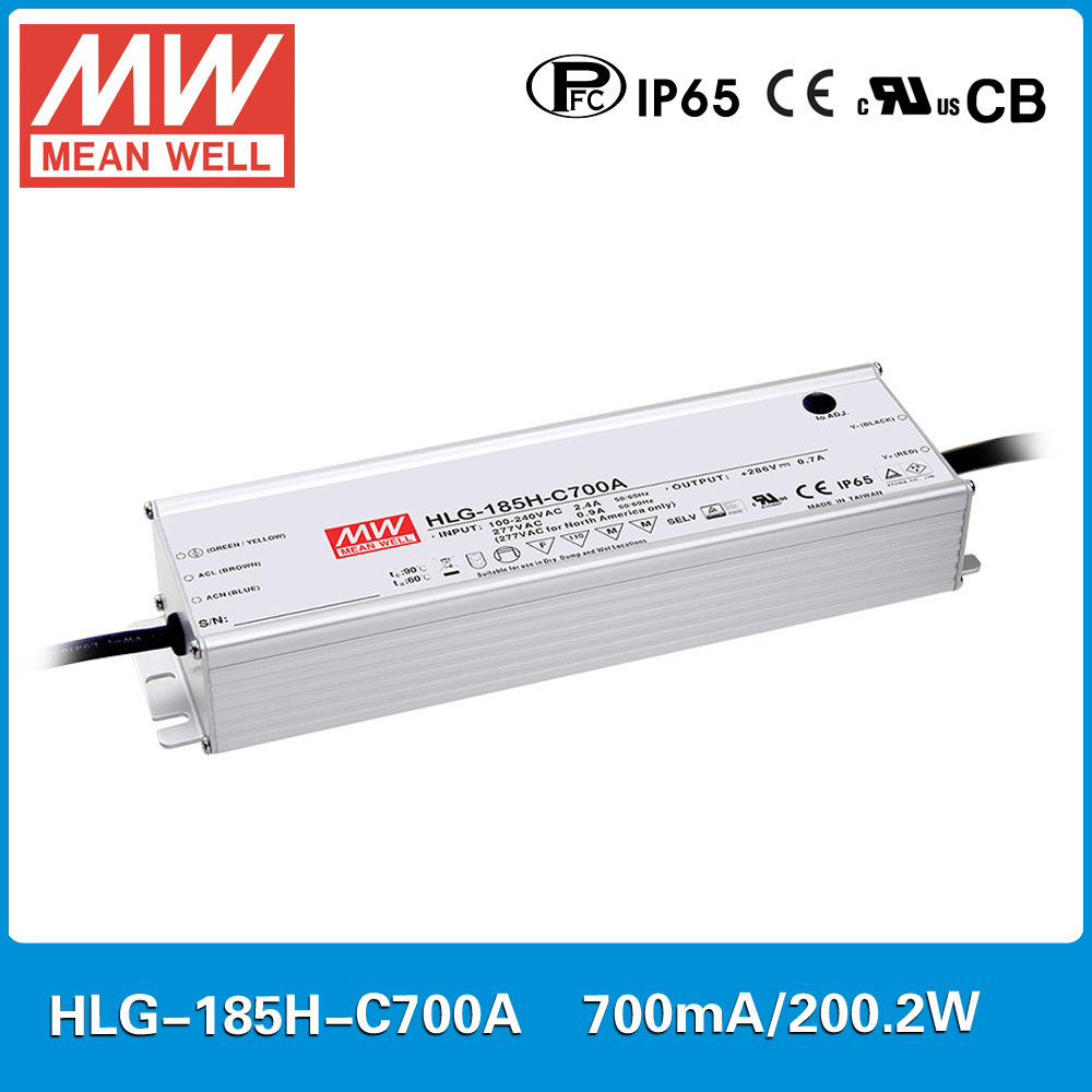 все цены на MEAN WELL constant current LED Power supply HLG-185H-C700A 143V~286V 700mA 200W PFC waterproof and current adjustable A type онлайн