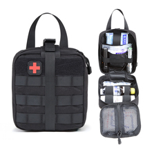 Outdoor Sports Tactical First Aid Bag MOLLE Car Medical Storage Package Hiking Camping Hunting Field Army Military Patch 1000D