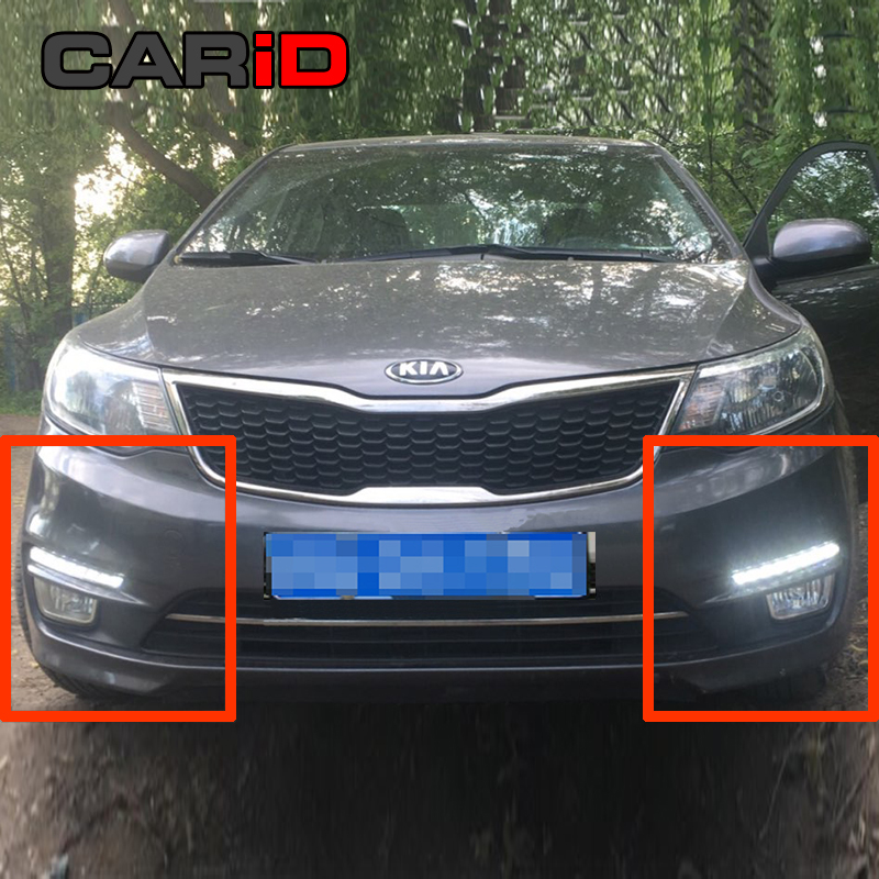 цена на CARiD LED Daytime Running Lights DRL Day Light Fog Lamp For Kia Rio K2 2015 2016 Yellow Turn Signal Relay Waterproof 12v