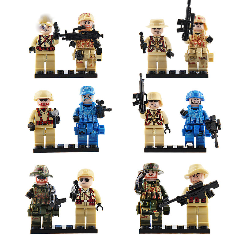 6Pcs/Lot Swat Police Team Military Soldiers With Guns Block Set Army Assault Building Brick Boys Game Toy Compatible For Childr military swat team city police armed