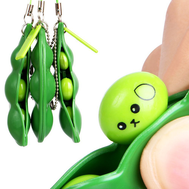 New Creative Extrusion Pea Bean Soybean Edamame Stress Relieve Toy Keychain Cute Fun Key Chain Ring Paty Gift Bag Charms Trinket ...
