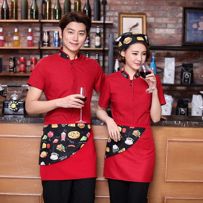 Women Summer Waitress Uniform Bar Restaurant Cafe Hotel Short-sleeved Overalls Tea House Catering Men Waiter Work Wear H2249
