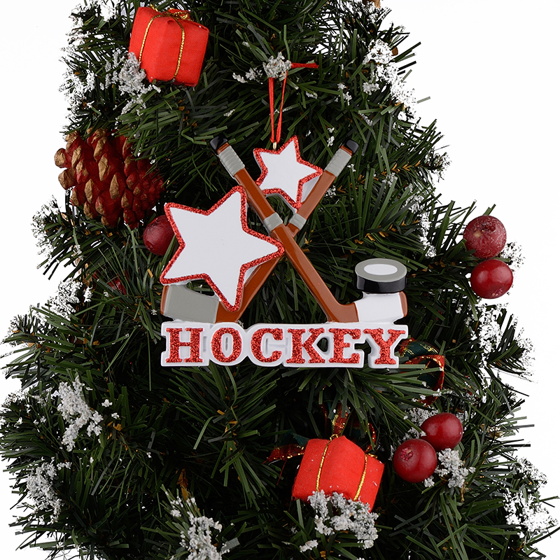 ice hockey resin glossy sports christmas tree ornaments personalized keepsake gifts used for holiday party and home decoration in figurines miniatures - Hockey Christmas Ornaments
