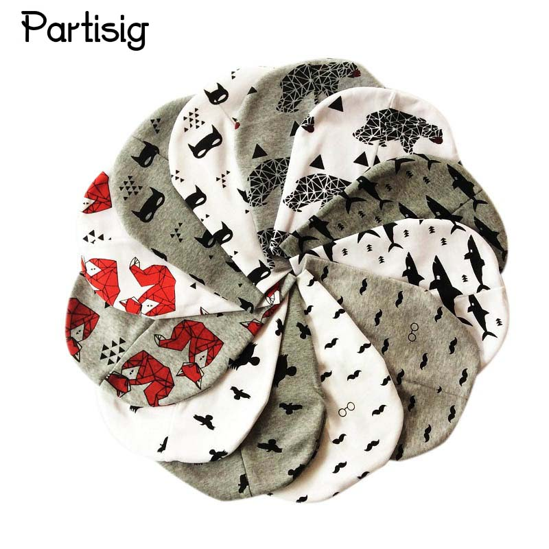 Høst Vinter Merke Baby Hat Strikket Cotton Cap For Kids Boy Girl Cartoon Karakter Skriv ut Barn Hatter Caps Baby Beanie