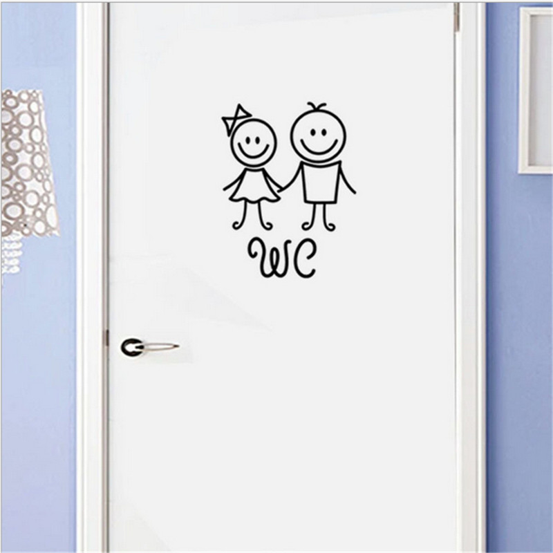 Cartoon girl boy wall sticker for bathroom decoration WC home decals poster door stickers Toilet sign