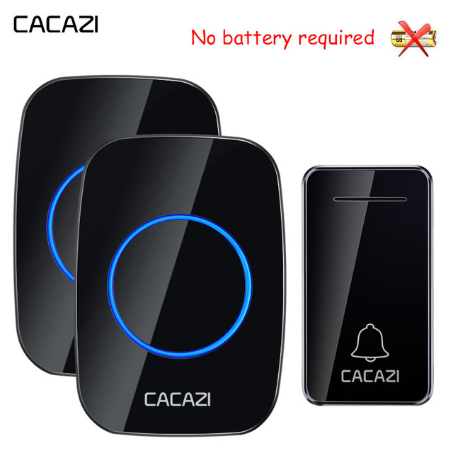 CACAZI Self powered Wireless Doorbell Waterproof No battery US EU UK AU Plug Calling Doorbell Chime 1 2 Button 1 2 Receiver