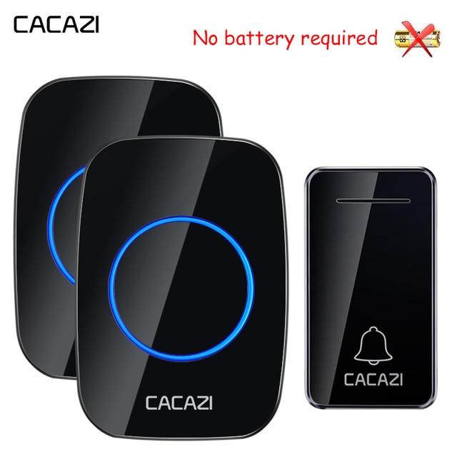 CACAZI Self powered bezprzewodowy dzwonek wodoodporny bez baterii US EU UK AU podłącz dzwonek dzwonek 1 2 przycisk 1 2 odbiornik