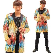 multicolour paillette lengthy blazer males newest coat designs males go well with customized stage singer punk trend males's jackets dance