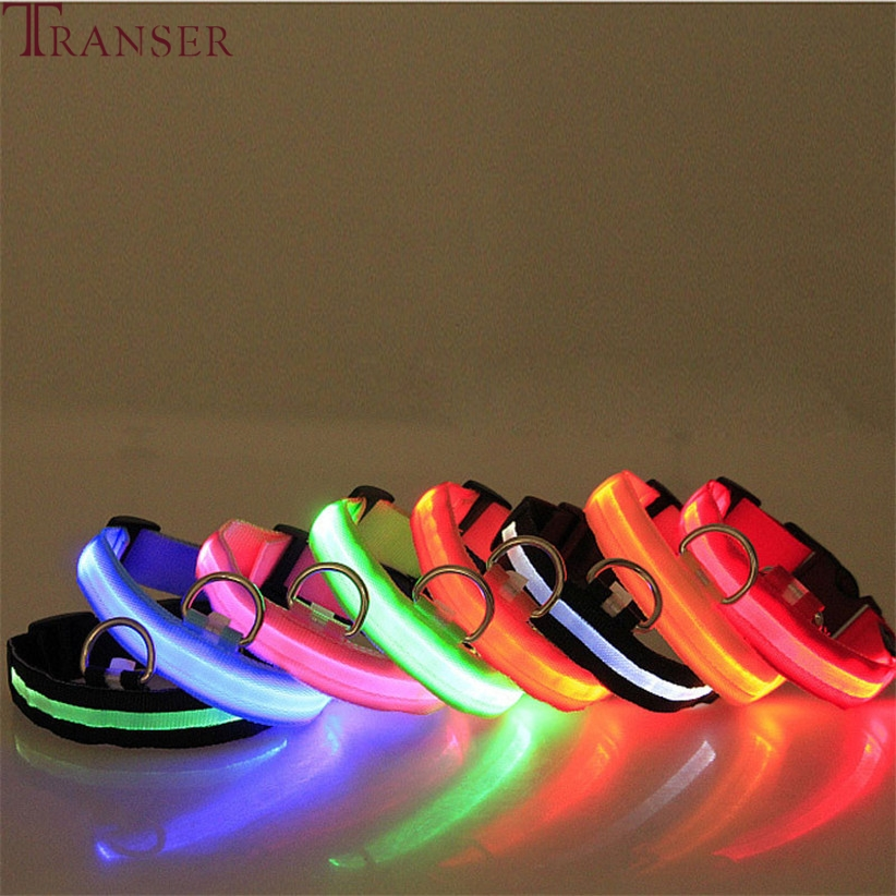 Transer Pet Dog Supplies Hot Electric Led Dog Collar Nylon Pet Safety Strap Neck Belt Collars For Small Large Dog 80124