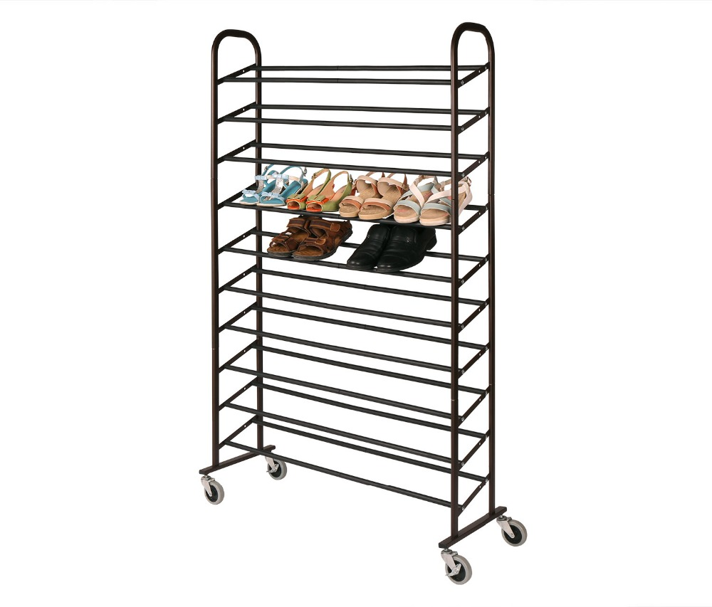 HLC Chrome Supreme 50 Pair Shoe Rack Easy Assemble Space Saving Easy to Move  with Wheels and Brake Christmas Gift lovely multilayer storage rack mounted within eight color combination shoe up and down to save space
