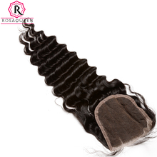 Rosa Queen 4×4 Lace Closure Deep Wave Brazilian Remy Hair Natural Black Color Free Part 100% Human Hair